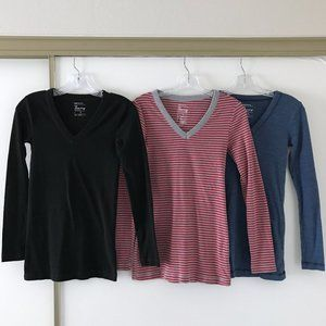 (Set of 3) GAP Maternity Bowery LS t-shirts, SMALL